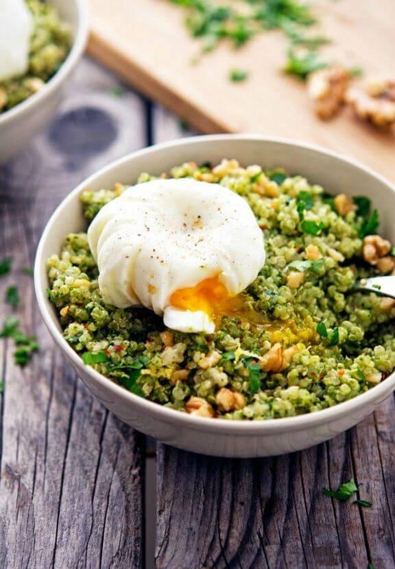 Quinoa Kale Pesto Bowls with Poached Eggs | theironyou.com