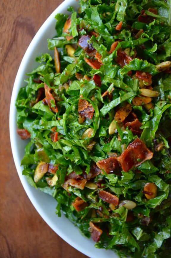 Raw Kale Salad with Warm Bacon Vinaigrette | justataste.com