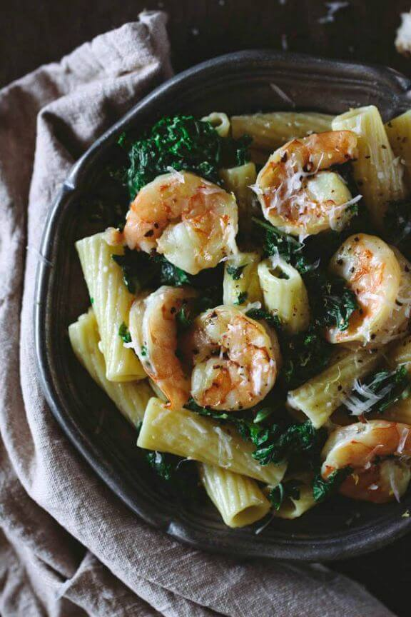 Roasted Shrimp and Kale Rigatoni with Lemon Ricotta Sauce | foolproofliving.com