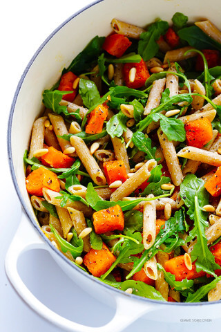 5-Ingredient Butternut Squash, Arugula and Goat Cheese Pasta Recipe | gimmesomeoven.com