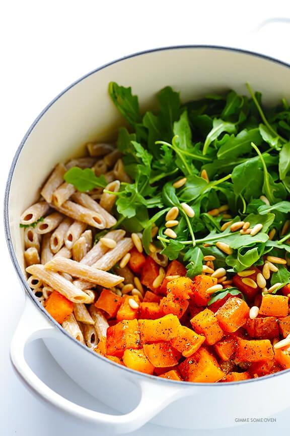 5-Ingredient Butternut Squash, Arugula and Goat Cheese Pasta Recipe   gimmesomeoven.com