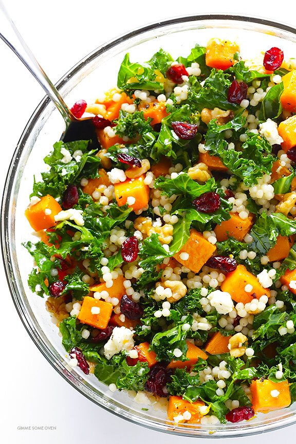 Roasted Butternut Squash, Kale and Cranberry Couscous -- a quick and easy meal that's so fresh and delicious!   gimmesomeoven.com