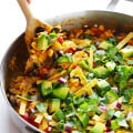 Easy Chicken Enchilada Skillet -- ready to go in about 20 minutes, and seriously good! | gimmesomeoven.com