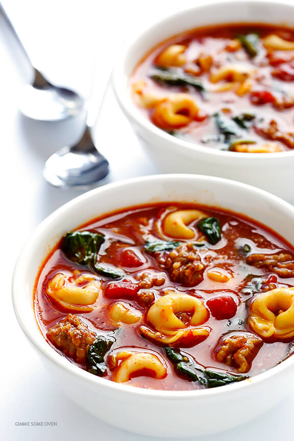 Tortellini Soup with Italian Sausage, Spinach and Tomatoes -- quick and easy to make, and full of the most comforting flavors!   gimmesomeoven.com