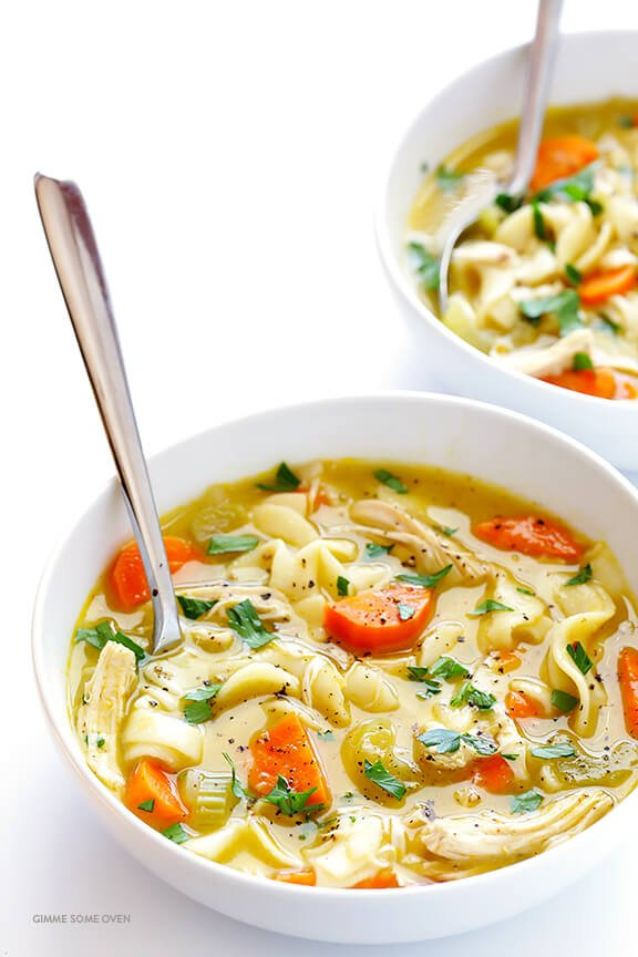 Rosemary Chicken Noodle Soup -- quick and easy to make, and oh-so-comforting | gimmesomeoven.com