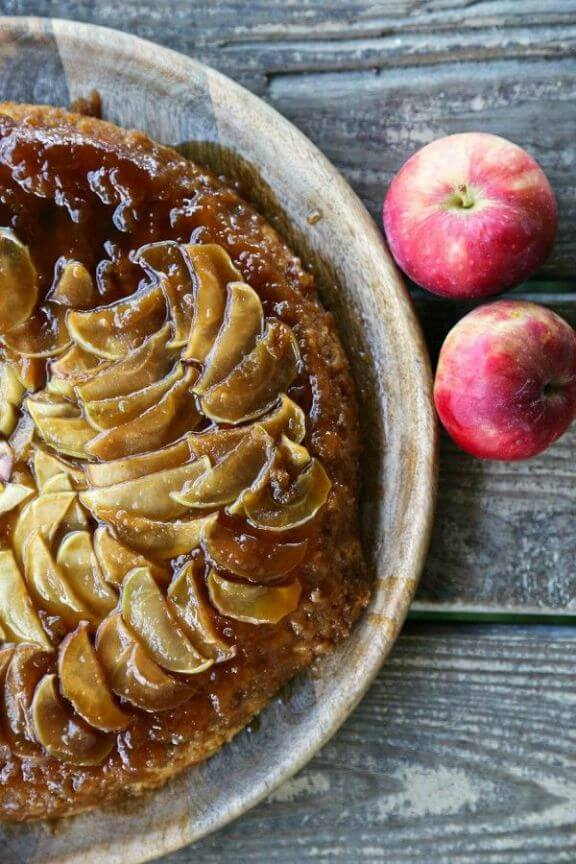 Maple Apple Upside Down Skillet Cake | foodiewithfamily.com
