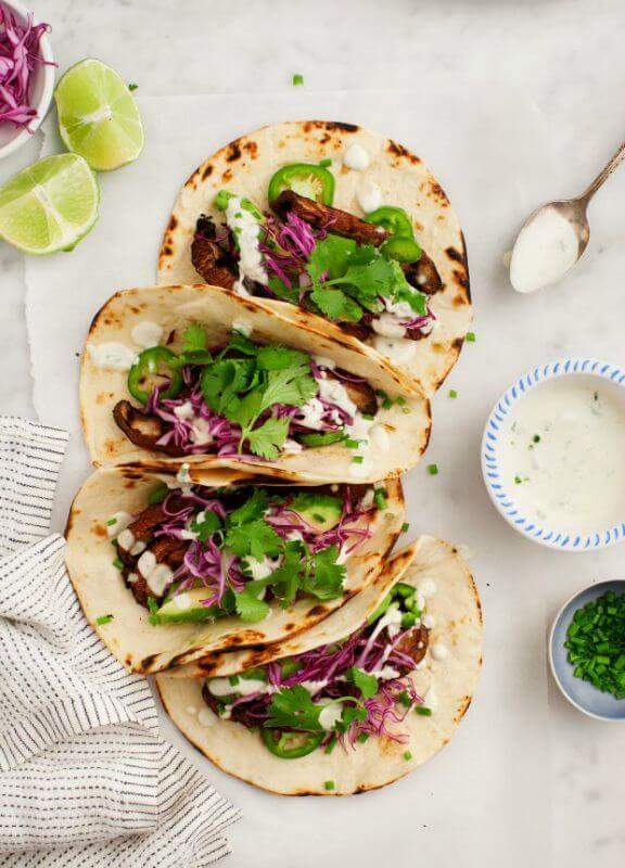 Portobello Tacos with Vegan Jalapeño Sauce | loveandlemons.com