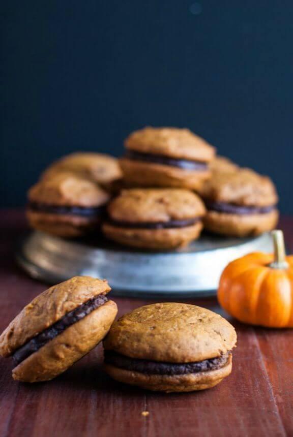 Pumpkin Whoopie Pies with Caramel & Boozy Ganache | cookienameddesire.com