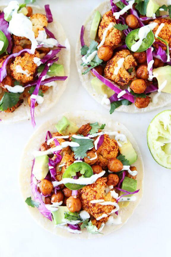 Roasted Cauliflower and Chickpea Tacos   twopeasandtheirpod.com
