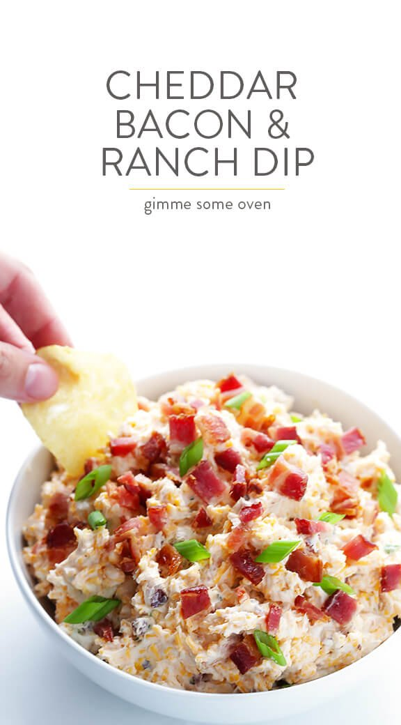 5-Minute Cheddar Bacon Ranch Dip Recipe -- easy to make with just 6 simple ingredients, and SO good! | gimmesomeoven.com