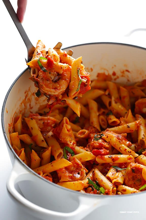 Shrimp Pasta with Creamy Tomato Basil Sauce -- simple to make, and so delicious and comforting | gimmesomeoven.com