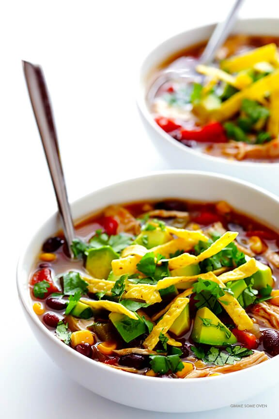 Slow Cooker Chicken Tortilla Soup -- this delicious recipe takes 10 minutes to prep, and then your crock pot does the rest! (It is also naturally gluten-free.) | gimmesomeoven.com