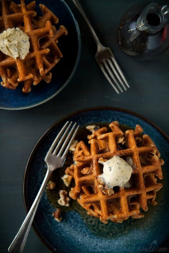 Yeasted Pumpkin Waffles with Sage Maple Butter | willcookforfriends.com