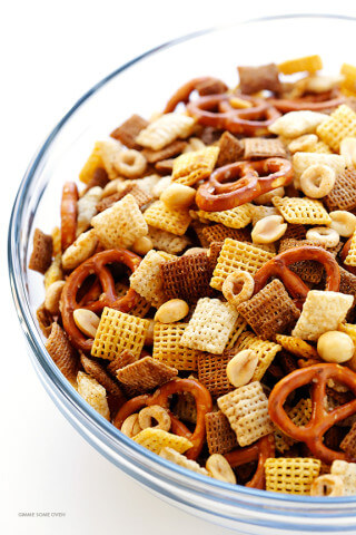 Coconut Oil Chex Mix Recipe -- easy to make in the oven or microwave, and so tasty! | gimmesomeoven.com