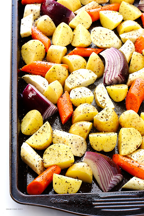 Roasted Root Vegetables -- super-easy to make, and extra delicious thanks to one secret ingredient | gimmesomeoven.com