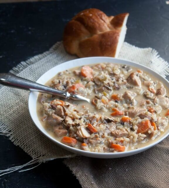 Cream of Turkey and Wild Rice Soup | backtoherroots.com