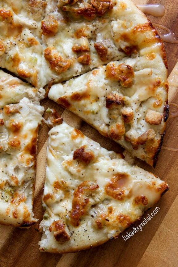 Leftover Thanksgiving Turkey Pizza | bakedbyrachel.com