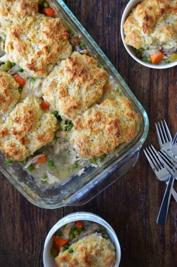 Leftover Turkey Pot Pie with Cheddar Biscuit Crust | justataste.com