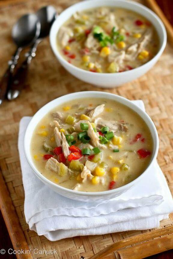 Light Turkey (or Chicken) & Corn Chowder | cookincanuck.com