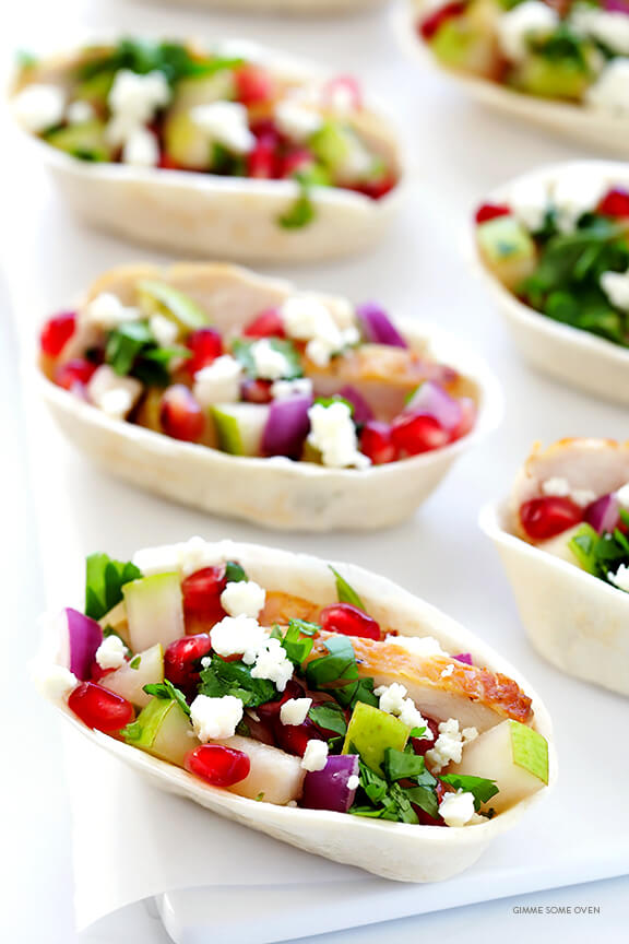 Pear & Pomegranate Tacos (Christmas Tacos) -- easy to make, totally delicious, and so festive! | gimmesomeoven.com
