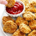Almond-Crusted Chicken Nuggets -- easy to make, and baked instead of fried! | gimmesomeoven.com