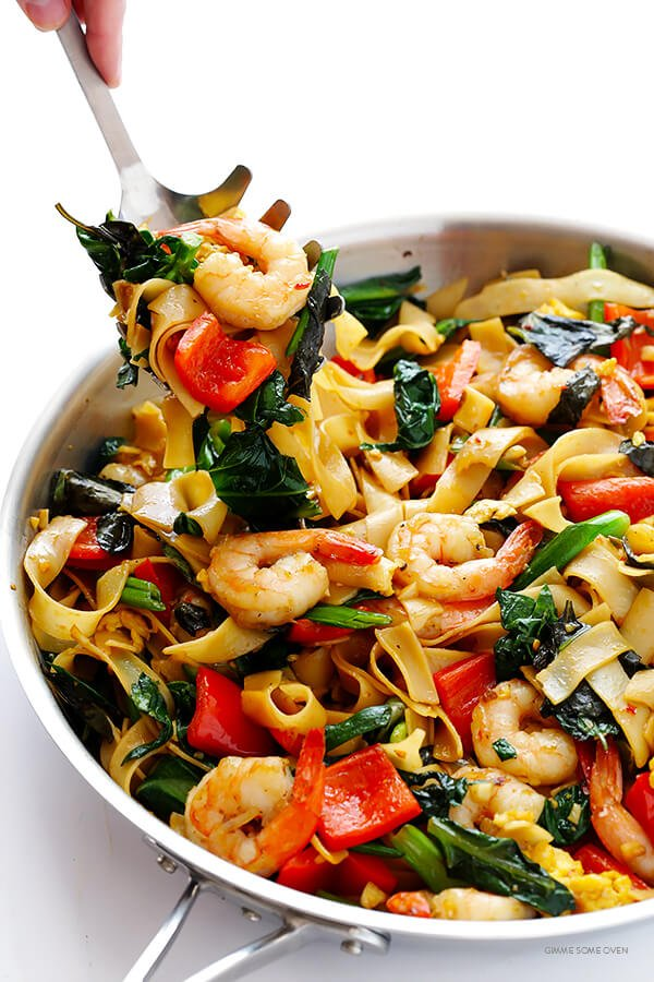 Drunken Noodles Recipe (Pad Kee Mao) -- this classic Thai dish is surprisingly quick and easy to make homemade!   gimmesomeoven.com
