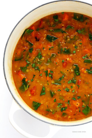 Italian Lentil Soup -- this delicious vegetarian soup is easy to make, and so comforting!  Feel free to add in Italian sausage if you'd like extra protein. | gimmesomeoven.com