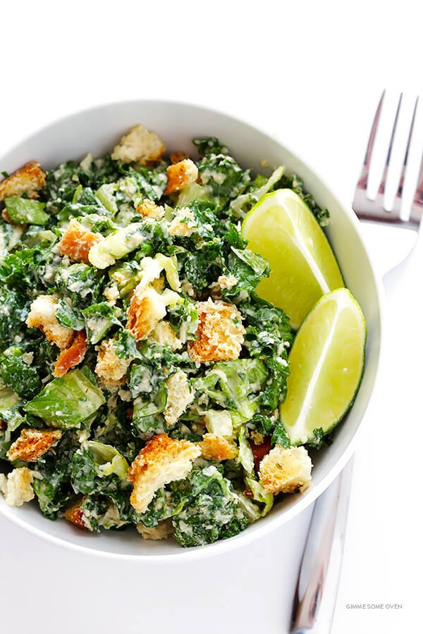 Kale Caesar Salad -- made with a lighter and delicious lime Caesar ...
