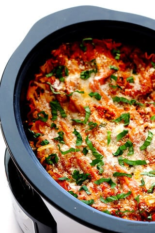 Slow Cooker Lasagna -- easy to make and customize with your favorite ingredients in the crock pot! | gimmesomeoven.com