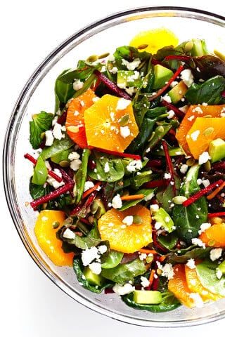 Green Salad with Oranges, Beets & Avocado | gimmesomeoven.com