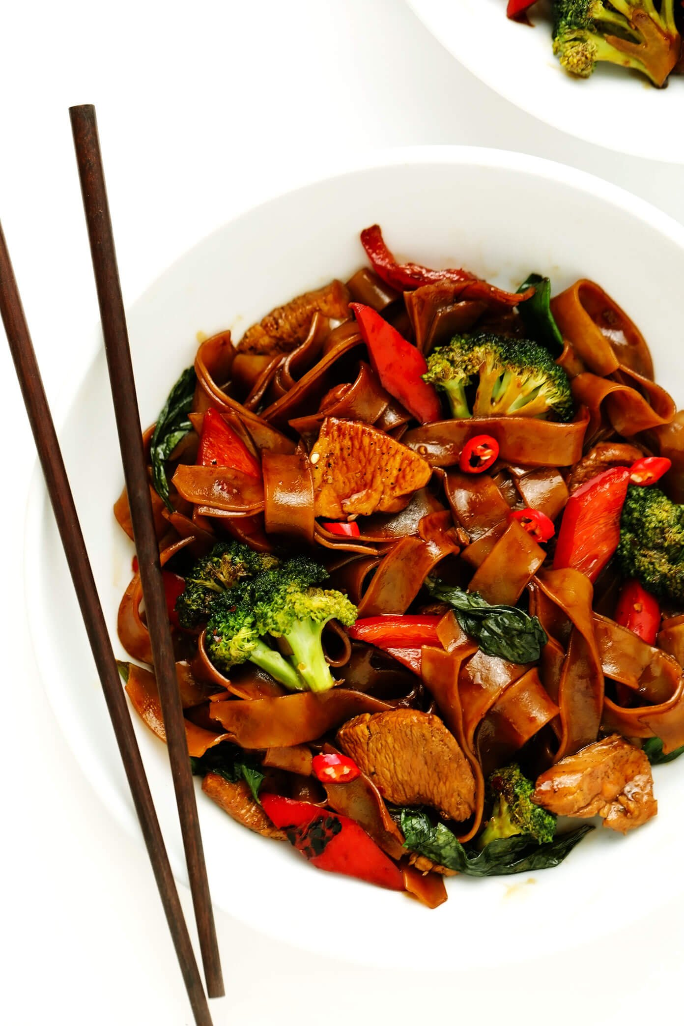 Drunken Noodles in Serving Bowl with Chopsticks