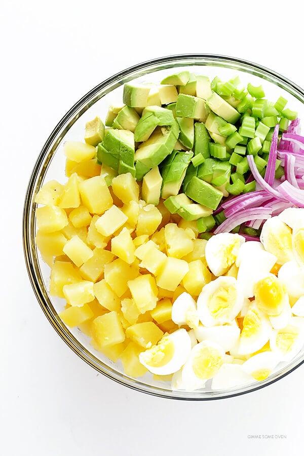Avocado Potato Salad -- classic creamy potato salad is kicked up a notch with some delicious avocados!   gimmesomeoven.com
