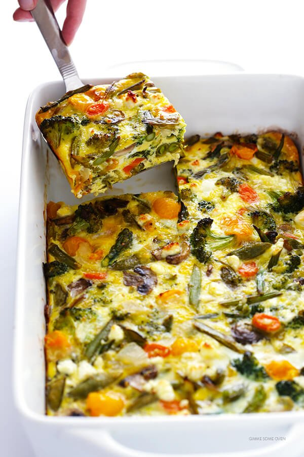 Spring Vegetable Egg Casserole -- easy to make ahead with your ...