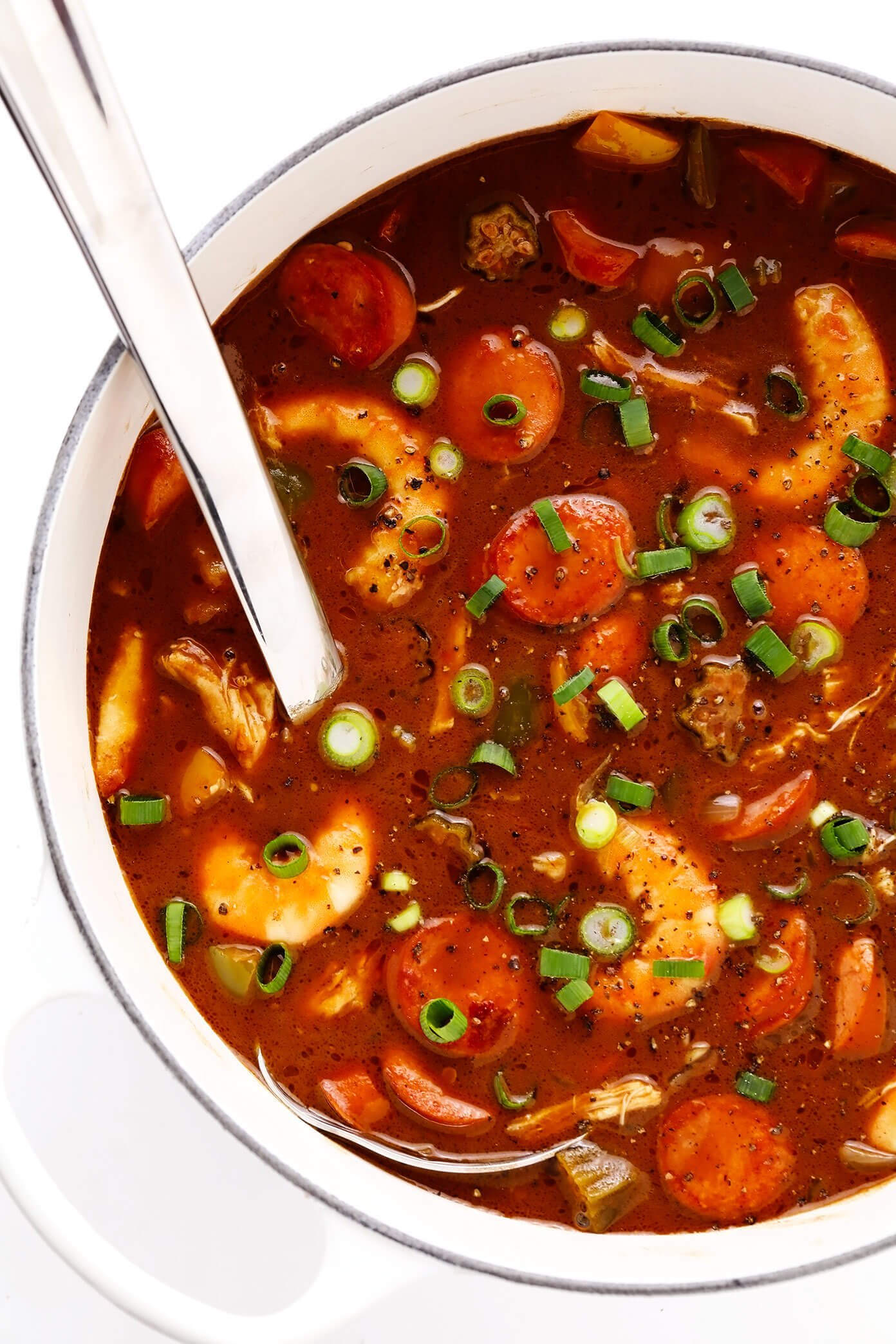 Pot of Chicken, Sausage and Seafood Gumbo