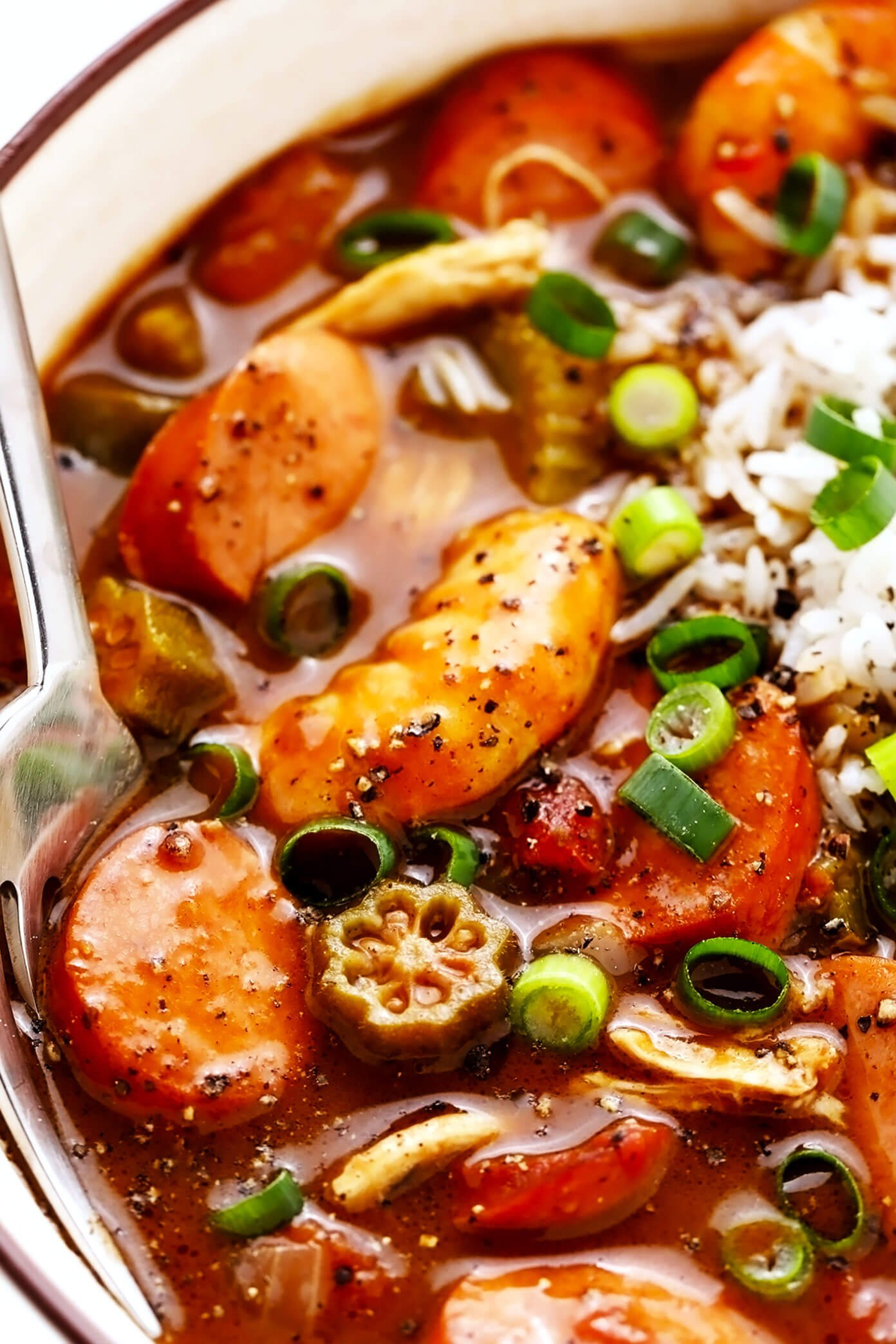 Closeup of Andouille Sausage, Shrimp and Chicken Gumbo with Rice