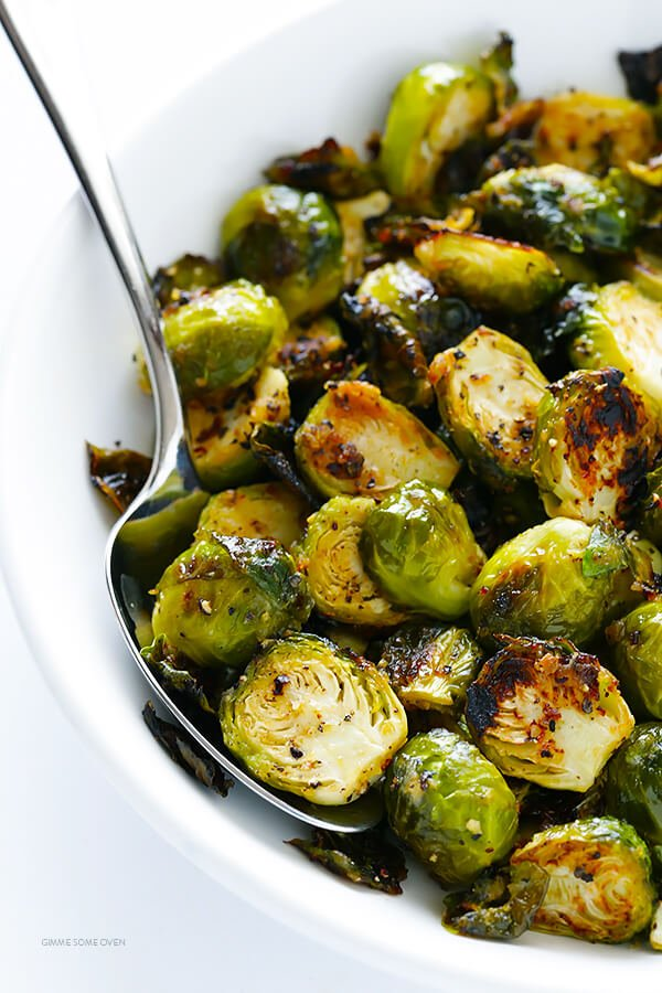 Miso Roasted Brussels Sprouts Recipe -- this side dish is quick and easy to make, and kicked up a notch with this easy miso vinaigrette! | gimmesomeoven.com (Gluten Free / Vegan / Vegetarian)