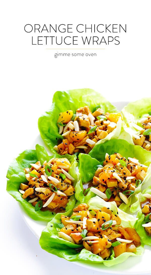 These Orange Chicken Lettuce Wraps are quick and easy to make, they're naturally sweetened with honey and orange juice, and they are SO fresh and delicious! | gimmesomeoven.com