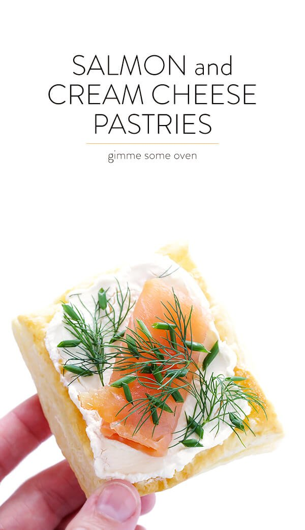 These Smoked Salmon and Cream Cheese pastries are super-easy to make with puff pastry, and they're always a crowd pleaser! | gimmesomeoven.com