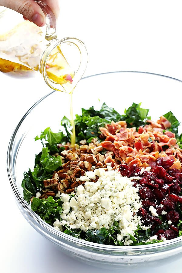 This Kale Salad with Bacon and Blue Cheese is quick and easy to make ...