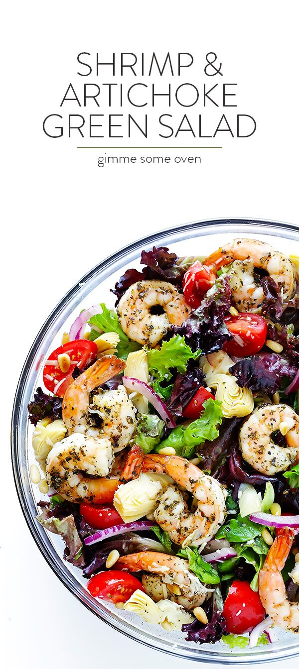 This Shrimp and Artichoke Green Salad is made with easy Italian-herb shrimp, artichoke hearts, tomatoes, pine nuts, and then it's tossed in a zesty lemon vinaigrette. It's one of my all-time favorite salads!   gimmesomeoven.com