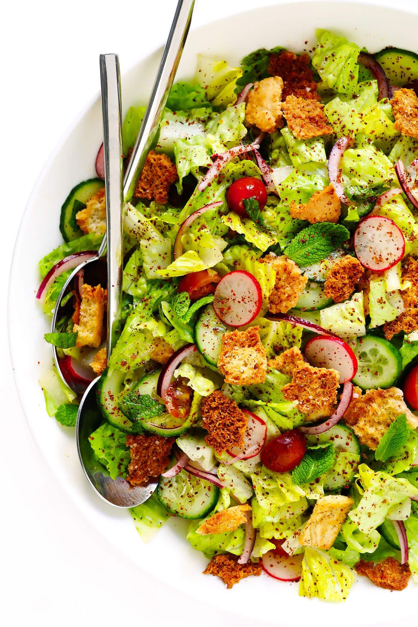 Best Fattoush Salad Recipe with Pita Croutons