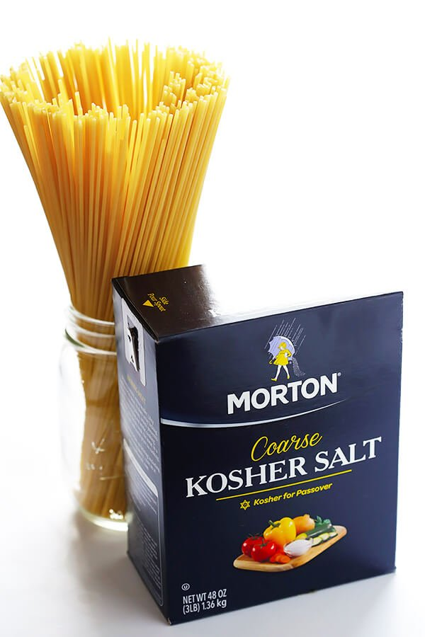 Learn how to properly salt your pasta water with this simple formula. It will definitely kick the flavor of your pasta up a delicious notch!! | gimmesomeoven.com