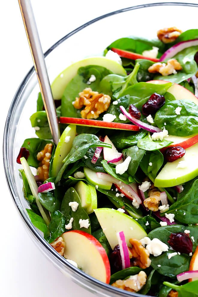 My favorite Apple Spinach Salad is made with tons of baby spinach and crisp apples, toasted nuts, soft cheese, and a zippy vinaigrette. Perfect for autumn, and so easy to make! | gimmesomeoven.com