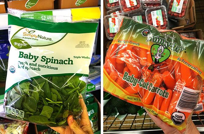 Aldi Baby Spinach Organic Carrots