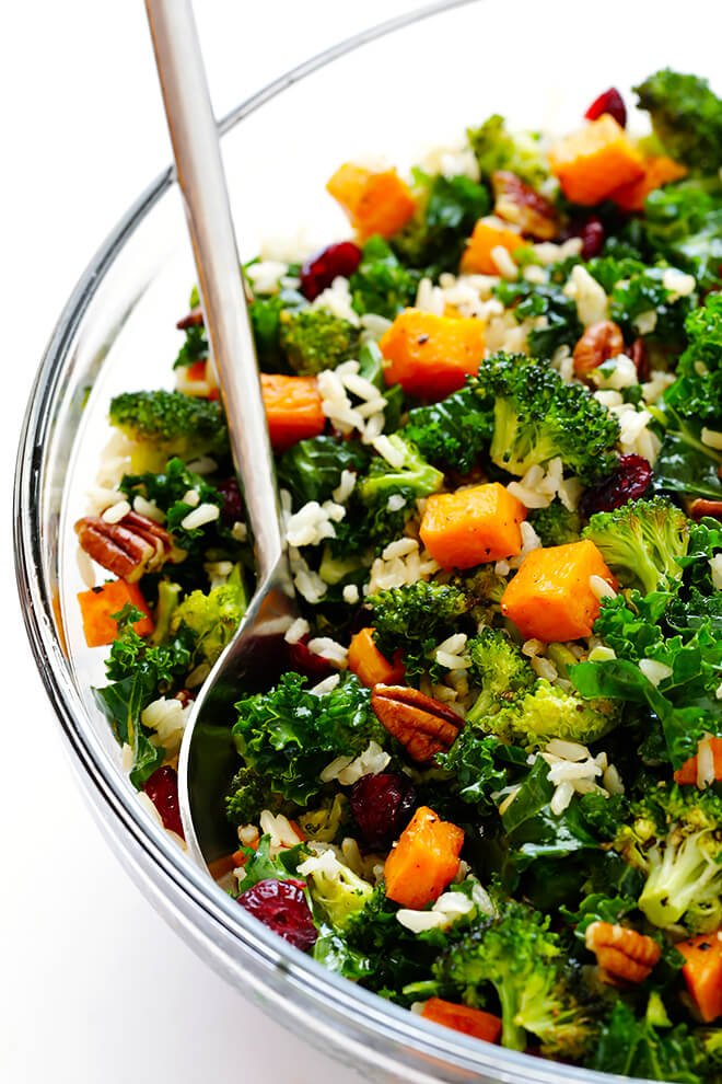 Autumn Kale Salad with Sweet Potatoes, Broccoli and Brown ...