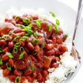Crock Pot Red Beans and Rice -- this easy recipe only takes a few minutes to prep, and it's full of the BEST Creole flavors. | gimmesomeoven.com