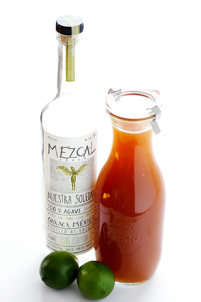 This smoky Apple Cider Mezcal Margarita is made with just 3 easy ingredients, and it is SO delicious and perfect for fall!   gimmesomeoven.com