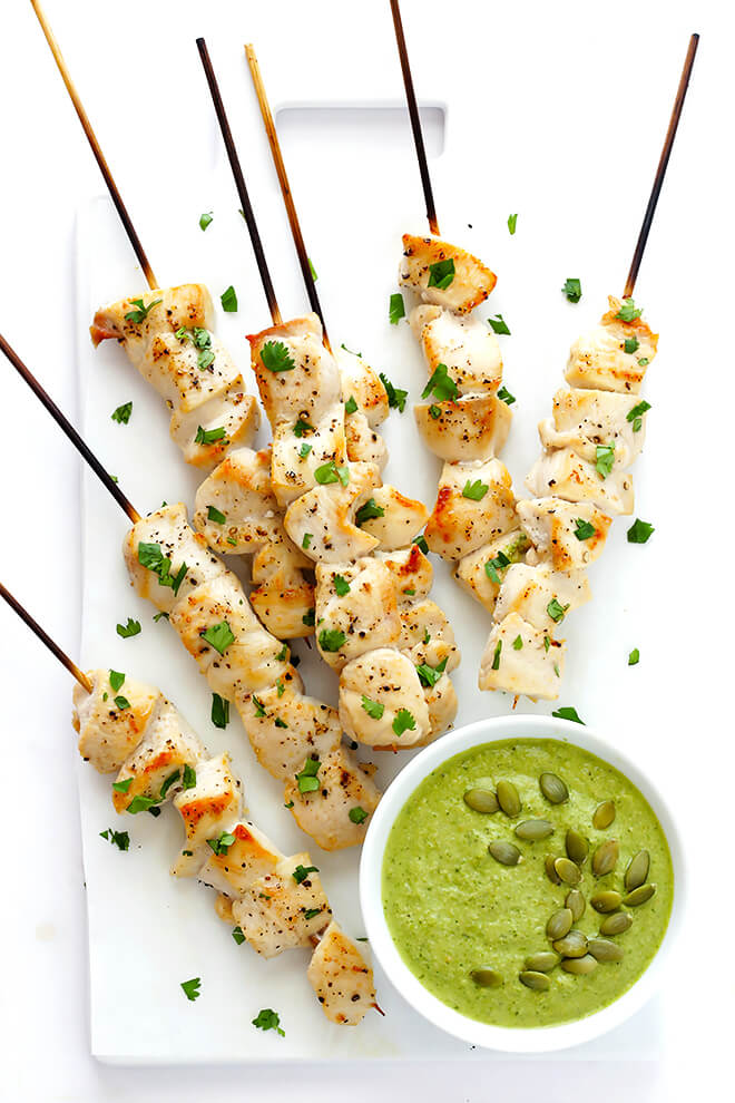 Chicken with Pumpkin Seed Sauce -- made with a yummy pepitas-tomatillo dipping sauce that is easy to make and full of the BEST flavors! | gimmesomeoven.com