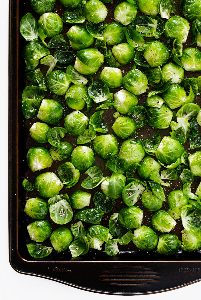 Roasted Brussels Sprouts in sheet pan