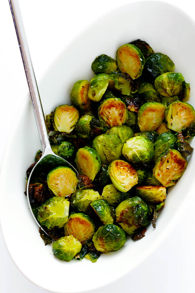 All you need to make my favorite classic Roasted Brussels Sprouts recipe is olive oil, salt, pepper, and a big batch of sprouts. Always so delicious!! | gimmesomeoven.com